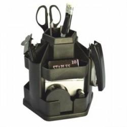 Suport birou plastic negru rotativ echipat 16 piese