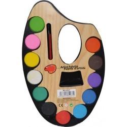 Acuarele 12 culori paleta mare cu pensula