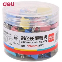 Clips hartie color 19mm 40 buc/cutie plastic Deli