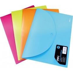 Mapa plastic cu Buton A4 culori Neon Deli