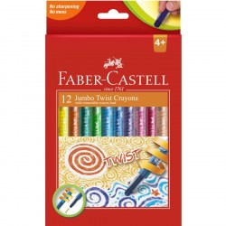 Creioane cerate 12 culori retractabile Faber-Castell