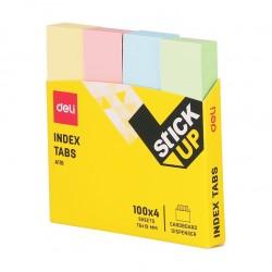 Index autoadeziv hartie 19x76mm 4 culori pastel Deli