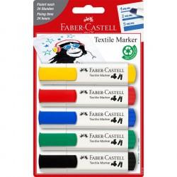 Marker textile 5 culori Standard Faber-Castell