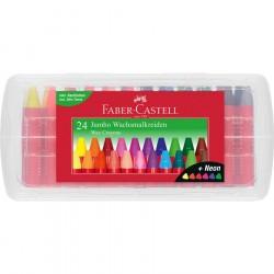 Creioane cerate 24 culori Jumbo cutie plastic Faber-Castell