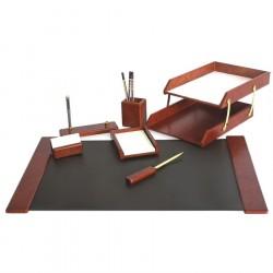 Set de birou din lemn 7 piese bordo