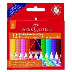 Creioane colorate plastic 12 culori Faber-Castell