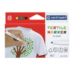 Marker textile 6 culori Centropen 2739