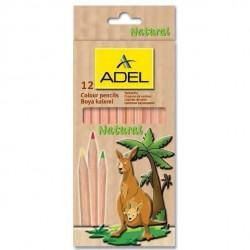 Creioane colorate 12 culori lemn natur Adel