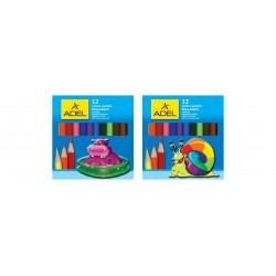 Creioane colorate 6 culori scurte Adel