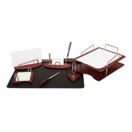 Set de birou din lemn visiniu 7 piese Forpus