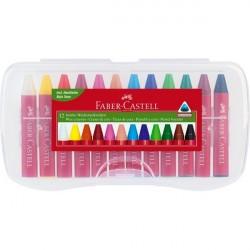 Creioane cerate 12 culori Jumbo cutie plastic Faber-Castell